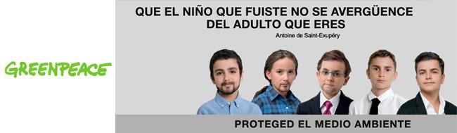 Greenpeace, La campaña de Greenpeace que convierte a los políticos españoles en niños