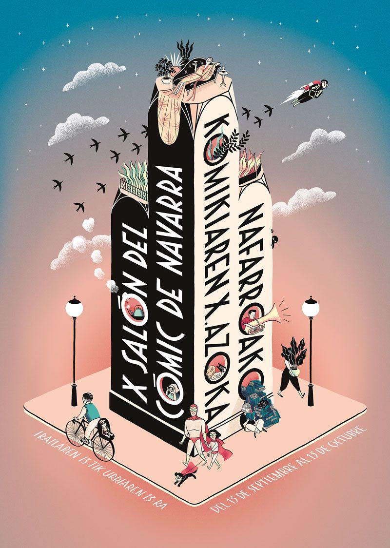 Diseño de Laura Pacheco para el cartel anunciador del 10º Salón del Cómic de Navarra.