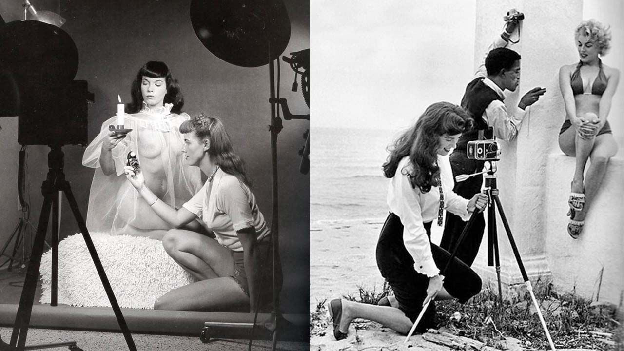 Bunny Yeager junto a Bettie Page