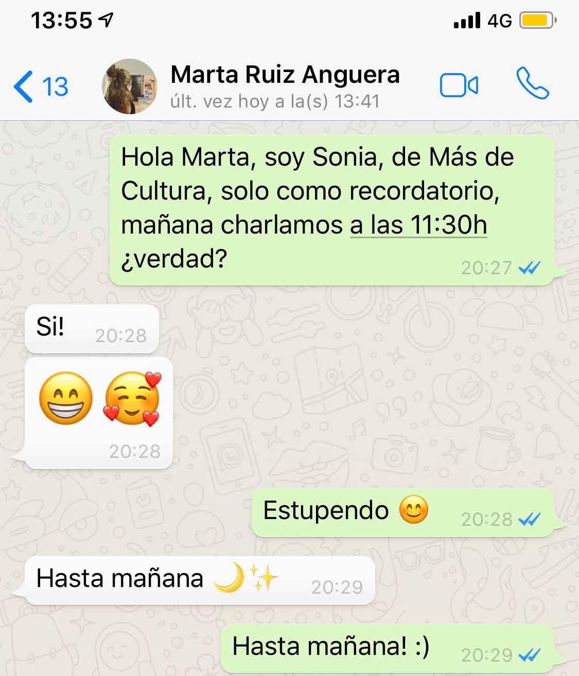 Marta Ruiz Anguera, Marta Ruiz Anguera, el hiperrealismo que se esconde tras una conversación de Whatsapp