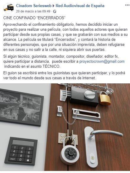 encerrados, Cine confinado, Isidro Morales pone en marcha el proyecto «Encerrados»