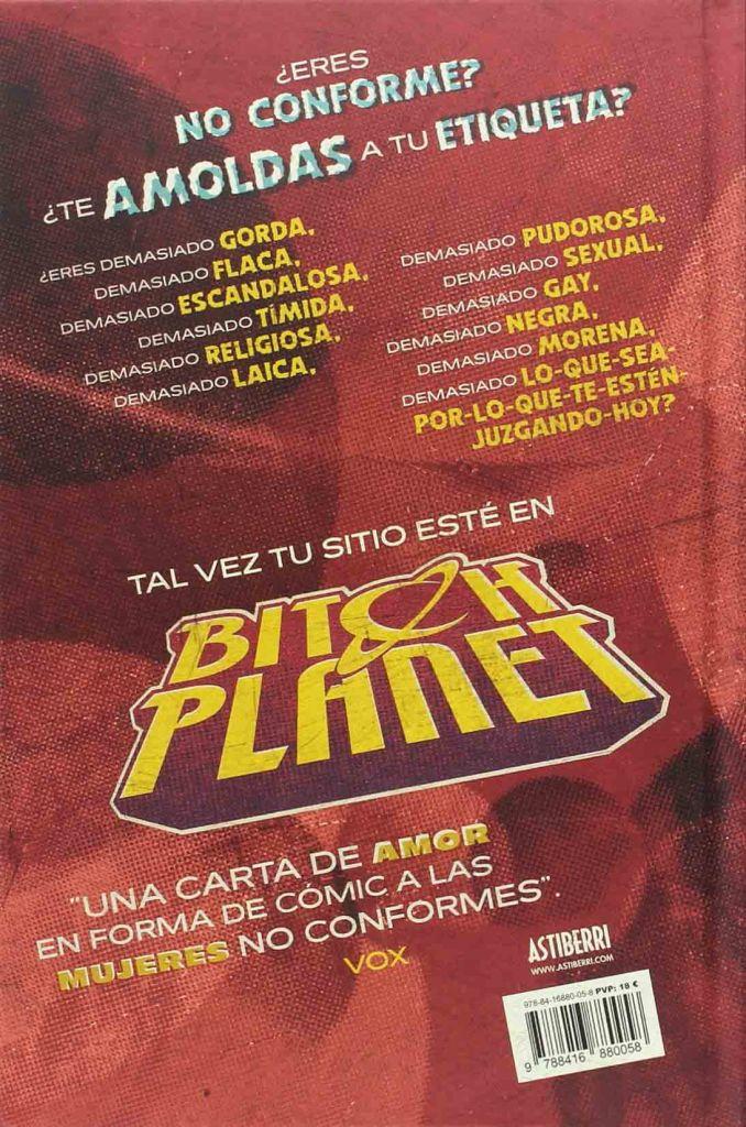 Contraportada del cómic Bitch Planet vol.1 (Astiberri ediciones) Riot grrrl