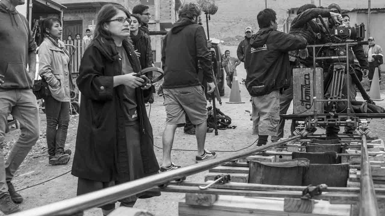 Melina Leon durante el rodaje de Canción sin nombre Fotografia archivo Beatriz Torres